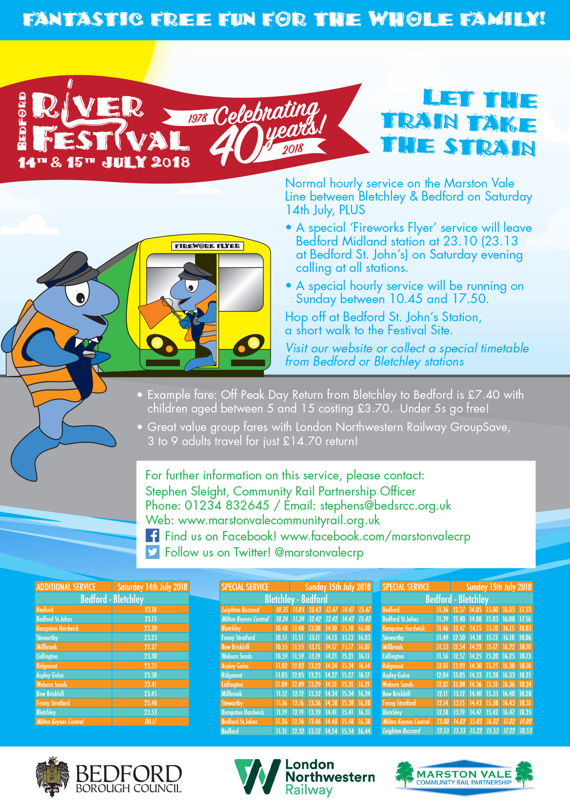 Bedford River Festival Train Timetable