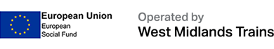 European Social Fund and Operated by West Midlands Trains logos