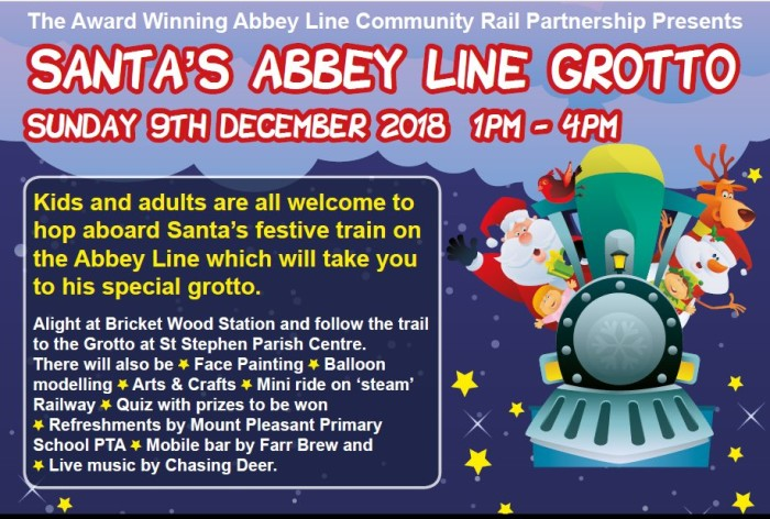 Families invited to join Santa's festive train on the Abbey Line this Christmas