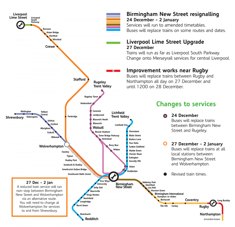 Map showing an overview of Christmas improvement works across the network