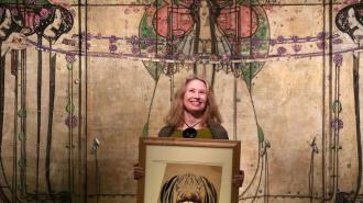Curator Alison Brown at the launch of the Charles Rennie Mackintosh - Making the Glasgow Style exhibition at Glasgow's Kelvingrove Art Gallery and Museum