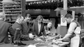 The Duke of York visits Mansfield's boot factory in Northampton