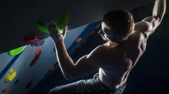 ROKT employee Brendan Dooher test out a new £100,000 Olympic-class bouldering and training facility at ROKT rock climbing gym in Brighouse, Yorkshire