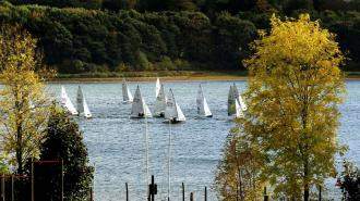 Sailors enjoying the strong winds at Pitsford reservoir, Northamptonshire