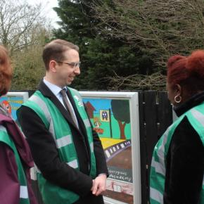 Mayor of Watford, Peter Taylor having a tour of Garston station, to see the work of station adopters and volunteers