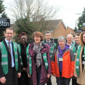 Mayor of Watford, Peter Taylor (left), station volunteers and representatives from Abbey Line CRP, Network Rail and London Northwestern Railway