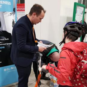 London Northwestern Railway and West Midlands Railway staff offering free cycle marking at a station security awareness event